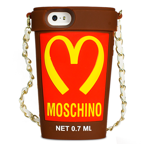 Чехол Moschino для iPhone 5 / 5s Mcdonalds Cup коричневый