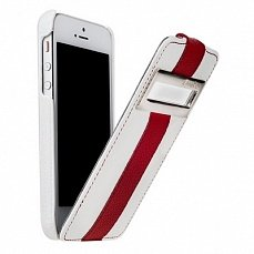Чехол Melkco для iPhone 5 / 5s Leather Case Jacka ID Type Limited Edition белый / красный