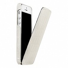 Чехол Melkco для iPhone 5 / 5s Leather Case Jacka Type Crocodile белый