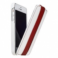 Чехол Melkco для iPhone 5 / 5s Leather Case Limited Edition Jacka Type белый / красный