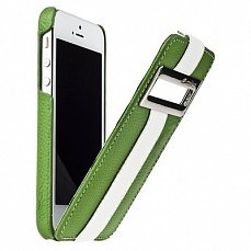 Чехол Melkco для iPhone 5 / 5s Leather Case Jacka ID Type Limited Edition зеленый / белый