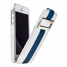 Чехол Melkco для iPhone 5 / 5s Leather Case Jacka ID Type Limited Edition белый / голубой