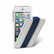 Чехол Melkco для iPhone 5 / 5s Leather Case Limited Edition Jacka Type белый / голубой