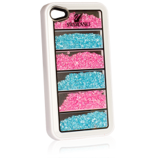 Чехол Swarovski для iPhone 5 / 5s Line Pink / Blue белый