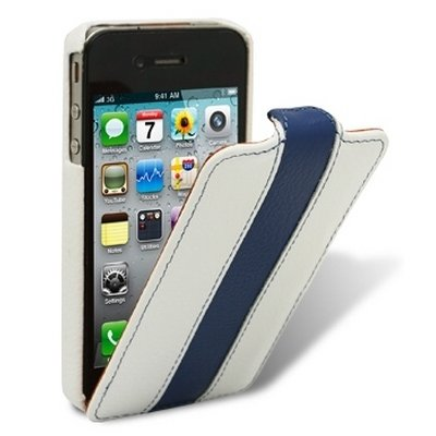 Чехол Melkco для iPhone 4 / 4s Leather Case Limited Edition Jacka Type белый / синий