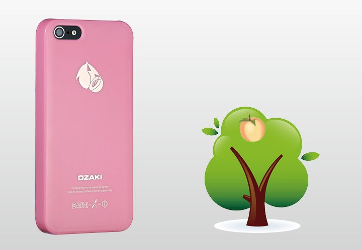 Накладка Ozaki для iPhone 5 / 5s O!Coat Fruit Peach розовая