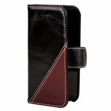 Чехол Melkco для iPhone 5c Leather Case Wallet Book Type Mix and Match Series гладкий черный/бордо