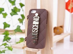 Чехол Moschino для iPhone 5 / 5s Chained Logo коричневый
