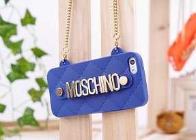 Чехол Moschino для iPhone 5 / 5s Chained Logo синий